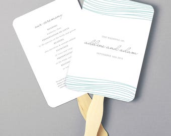 Instant Download   DIY Wedding Program Fan Template - Ocean - Editable Colors   Mac or PC   Word & Pages   5x7