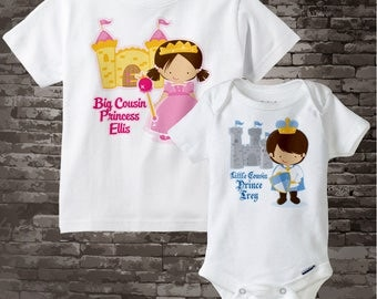 Set of Two Personalized Dark Brown Hair Big Cousin Princess Shirt, and Dark Brown Hair Little Cousin Prince Onesie 09192014b