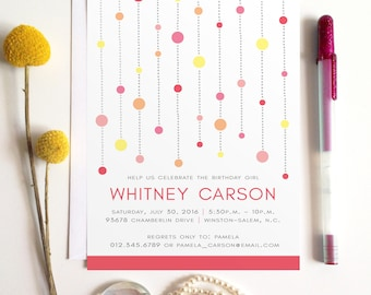 Birthday Party Invitation, Pink and Yellow Sweet Sixteen Party Invite, Modern