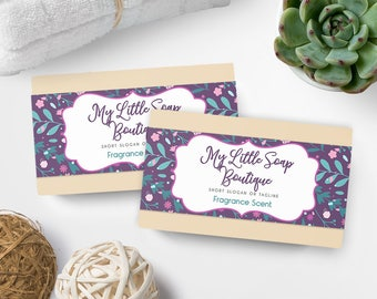 Soap Labels - Floral Soap Labels - Soap Packaging - Soap Wrapper - Cosmetic Labels -  Printable Label Design - Product Labels - SW-8
