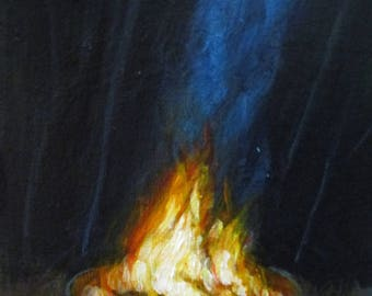 Campfire - original daily painting by Kellie Marian Hill