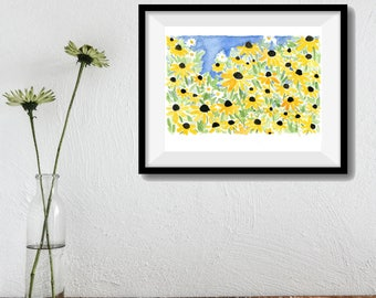 art print, Black eyed Susan field, watercolor print, landscape art, yellow, blue, green, mothers day, flowers print, spring bloom, nature