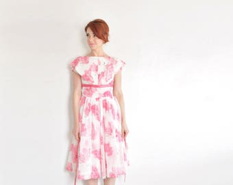 mid century poppy dress . sheer pink floral 1950 new look party frock .extra small.xs