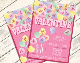 Conversation Heart Valentine Invitations - Valentine Party, Conversation Hearts, Self-Editing   DIY Editable Text INSTANT DOWNLOAD Printable