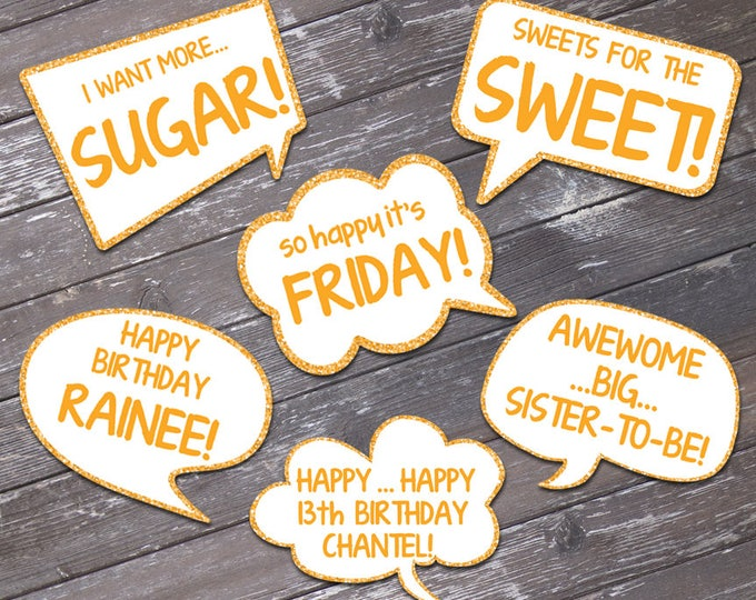Gold Speech Bubble Props - Baby Shower, Birthday Party, Wedding, Shower | Editable Text - INSTANT DOWNLOAD with 6 DIY Printable Props