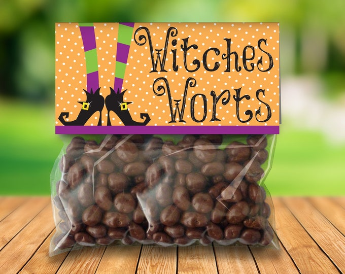 "Witches Worts Treat Baggie Toppers - Halloween Party,Halloween Favor, 4"" Treat Bag Topper 