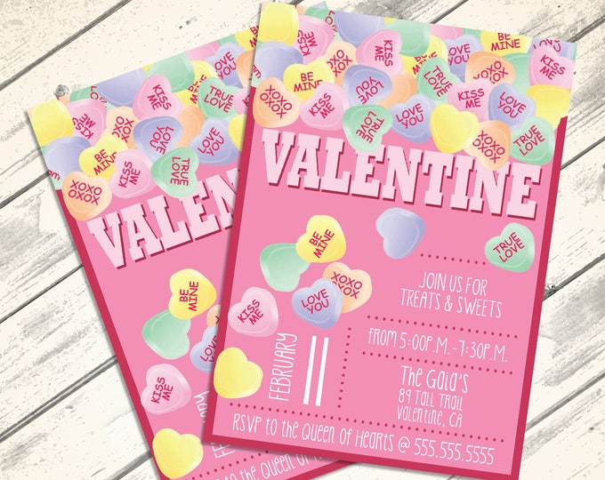 Conversation Heart Valentine Invitations - Valentine Party, Conversation Hearts, Self-Editing | DIY Editable Text INSTANT DOWNLOAD Printable