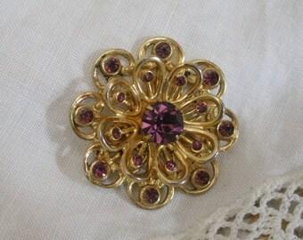 Vintage Coro Amethyst Flower Brooch