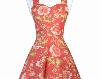50s Style Retro Apron - Terracotta Floral Womans Old Fashioned Vintage Cute and Flirty Full Kitchen Apron to Monogram Embroidery (DP)