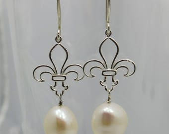 Fleur de Lis Earrings Sterling Silver with Freshwater Pearls