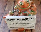 Robot Business Card Holder Faux Bronze Patina Geeky Office Decor