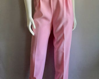 Vintage Women's 80's Unworn, Pink Pants, High Waisted, Polyester, Tapered Leg by Pykettes (L)
