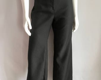 Vintage Women's 70's Black Polyester Pants, High Waisted, Slightly Tapered Leg (L)