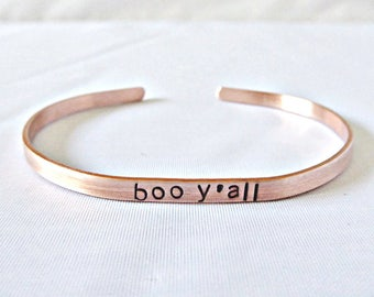 Boo Y'all, funny best friend gift, skinny cuff, for women, funny jewelry, halloween bracelet, halloween lover, personalized, motivational