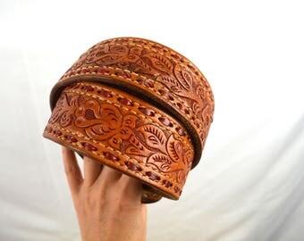 Vintage Tooled Leather Floral Belt