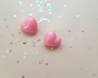 Light Baby Pink Large Chunky Heart Lovey Valentine's Themed Pin/Post Earrings