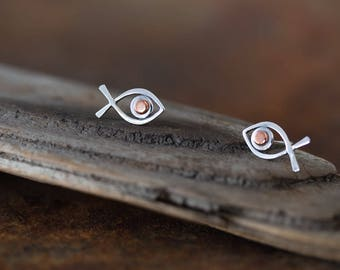 Minimalist Fish Stud Earrings, Sterling Silver Wire Outline with Copper Eye, Handcrafted Solid Sterling Silver Studs, Aquarium Series