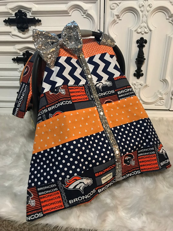 Ready to ship , Broncos custom car seat canopy , Broncos , Denver Broncos , bling bow , sparkle