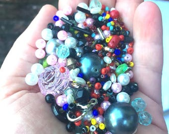 Supplies - Large Lot of Colorful Beads in Assorted Shapes and Sizes - Pearls, seed, plastic and more