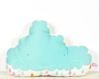 decorative pillow happy cloud for nursery or kids room in light blue