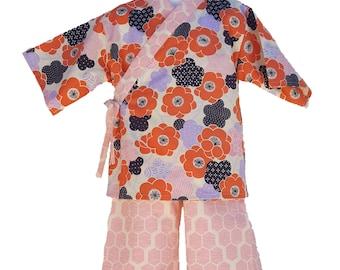 Kids Kimono Jinbei - PLUM BLOSSOM - Japanese casual wear girls baby toddler jinbei
