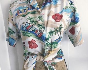 Vintage Ladies Rayon Tropical Shirt in Caribbean Print -- Size XL