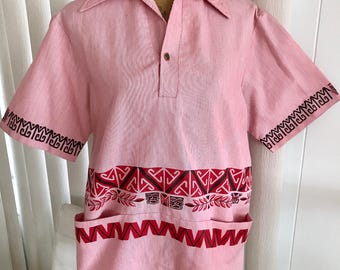 Vintage Men's 1960's Tiki Print Hawaiian Pullover from the 1960's -- Size M-L