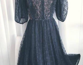Gothic Beauty Designer Albert Capraro Vintage 70's/80's Black Lace Femme Fatale Dress