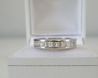 Estate Sterling Silver 925 Diamond Like Cubic Zirconia Channel Set Eternity Wedding Band Ring Size 9
