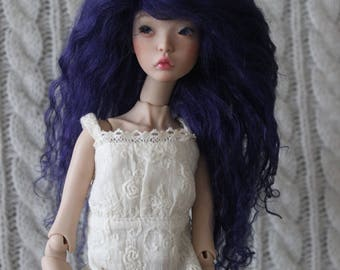 Deep Indigo Blue mohair wig for Cerisedolls Chibi Lana or Popovy Sisters doll