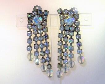 Vintage Long Crystal and Blue Aurora Borealis Rhinestone Clip Earrings  (E-1-5)