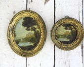 Small Italian Paintings, Reproduction Art, Oval Frames, Small Art, Made In Italy, Wall Decor, Landscape Painting, Cottage Farmhouse Decor