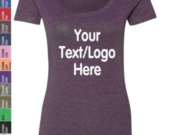 Custom Made Next Level -Ladies' Triblend Scoop Shirt - 6730 with Rhinestone , Glitter or Vinyl Print Customized