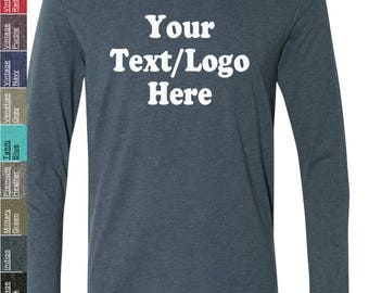 Personalized Next Level - Triblend Long Sleeve Crew - 6071 Custom Made T-Shirt with Vinyl or Glitter Print