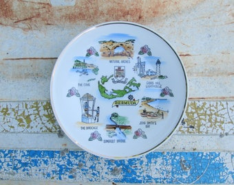 Bermuda Souvenir Plate Vintage Decorative Tropical Island Vacation