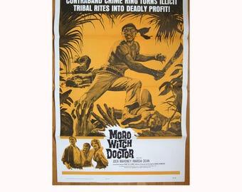 vintage original 1964 film poster MORO WITCH DOCTOR Jock Mahoney