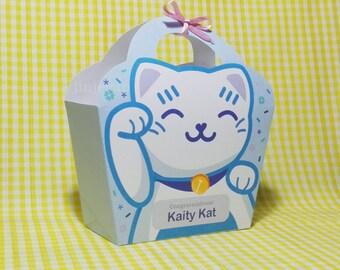 Kawaii Blue Lucky Cat Giftbag Cute Love Manekineko Neko Birthday Party Treat basket Bag Packaging Editable Printable PDF