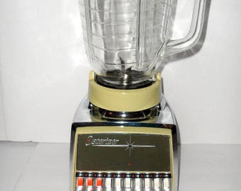 Vintage Osterizer Cycle Blend Multi Function Atomic Blender Advocado Green and Chrome Color Combo Excellent Condition with Glass Pitcher