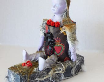 Altered Doll Assemblage - Creepy Doll Art - Ghost of Love Assemblage - Coffin Art Doll