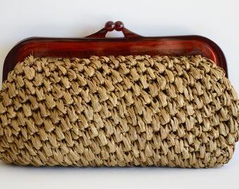 Vintage Lucite Clutch Straw Woven Purse Brown Lucite Clutch Rafia Weave Vintage Clutch Handbag