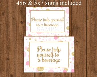 Beverage Sign, Pink And Gold Baby Shower, Drinks Sign, Baby Shower Decor,