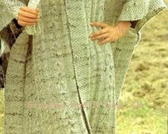 Knitting Pattern - Aran Isle Cape/Poncho womens Winter Knit Download PDF