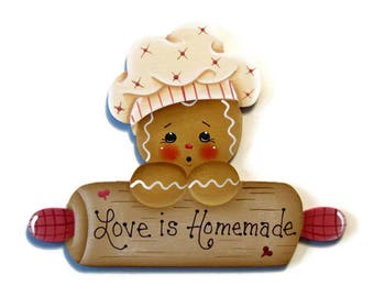 Ginger With Rolling Pin Fridge Magnet or Ornament, Handpainted Wood Gingerbread Refrigerator Magnet, Love is Homemade, Hand Painted Ginger