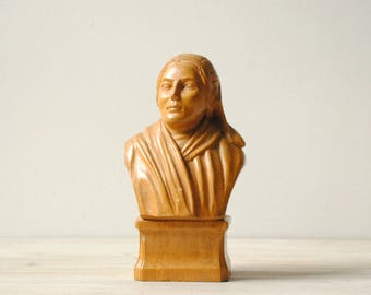 Vintage Bust, Hand Carved Wood Bust of a Woman