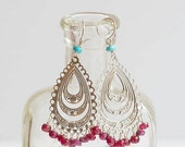 Ruby & Turquoise Silver Chandelier Earrings