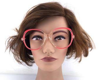 vintage eyeglasses / round eyeglasses / oversize eyeglasses / clear frames / retro eyeglasses / neon pink / bright pink/  54[]18 140 / 296b