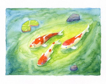 ORIGINAL Koi Pond No. 2 - Watercolor Painting