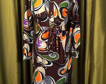Vintage 1970's Mod Print Knit Button Down Shift Dress Sz 12