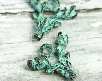 Deer charm pendant, Green Patina metal Elk with Antlers, 20mm verdigris Greek Mykonos Casting Metal Native Tribal bead DIY