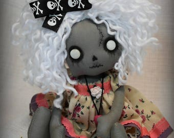 Ariana ZOMBIE Rag Goth Tattered spooky creepy cute emo collectible home decor Stitches  gift Handmade Art Doll OOAK